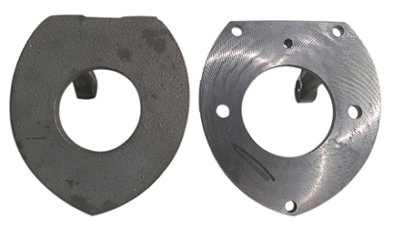 Blank casting on the left Faced product on the right produced by Falmer on the brother X500S1