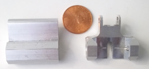 Left: Extruded Aluminum Blank Right: Machined Base by Falmer